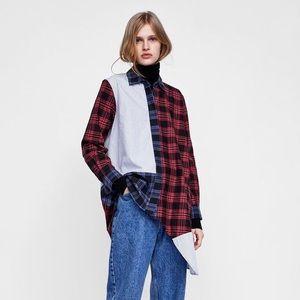 Zara Patchwork Button Down Shirt XS Asymmetric